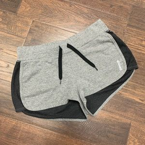 Reebok Gray Cotton & Black Mesh Knit Track Shorts